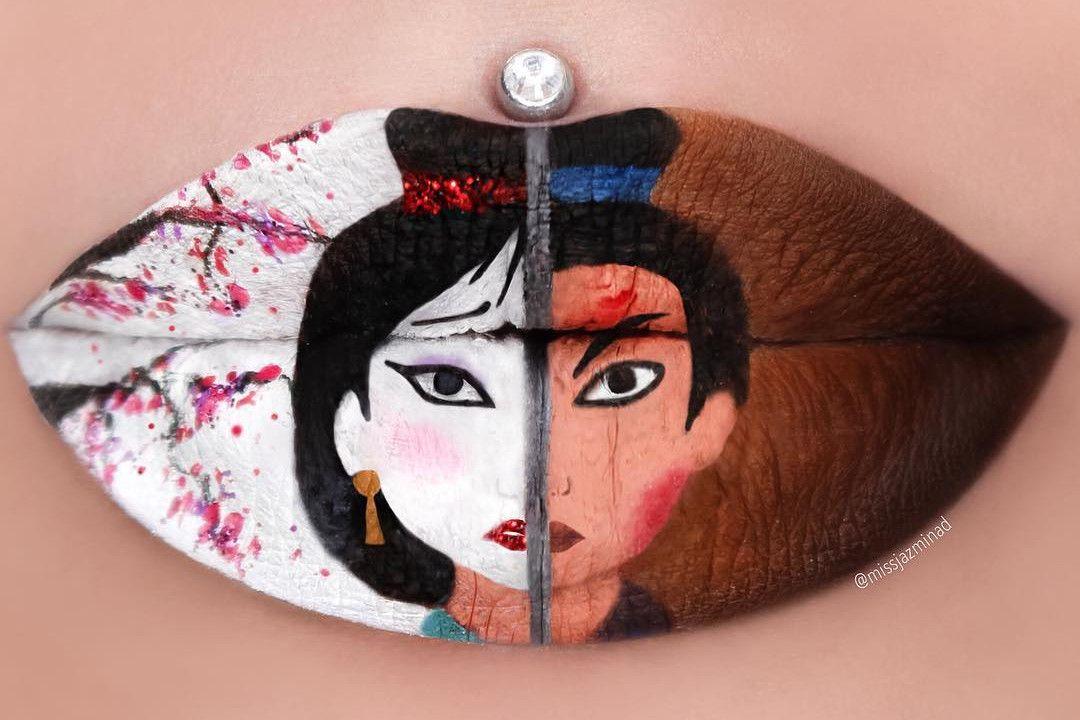 Mulan namalowana na ustach