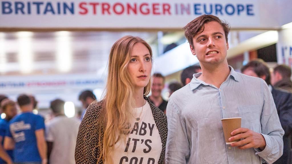 Dwójka Brytyjskich młodych ludzi obserwuje wyniki referendum