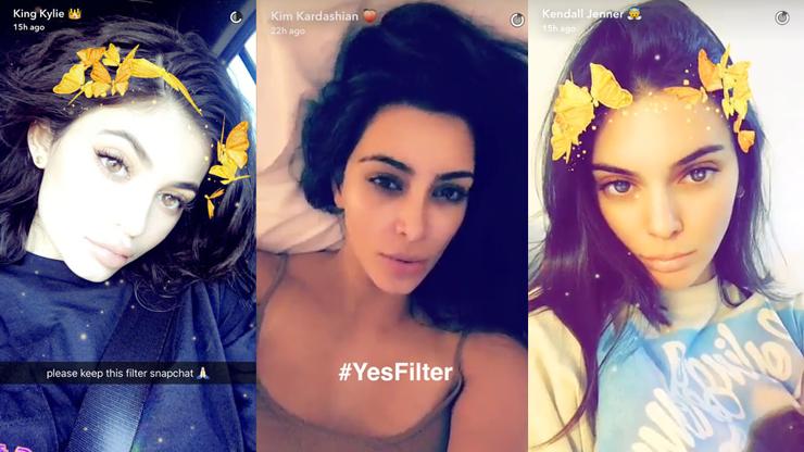 Upiększone zdjęcia trzech brunetek przy pomocy filtrów z aplikacji Snapchat