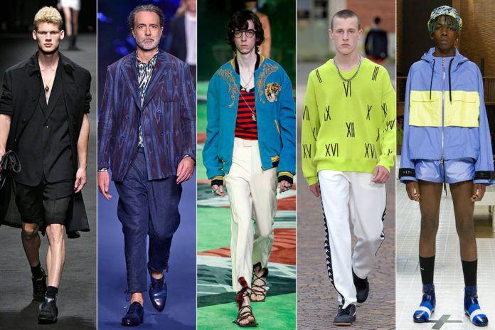 Grupa modeli na wybiegu ubranych na kolorowo