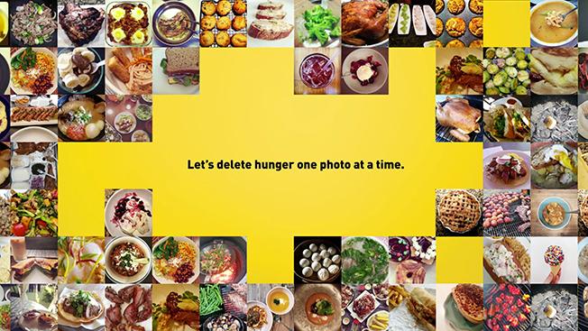 "Zdjęcia różnych opatrzone podpisem ""Let's delete hunger one photo at a time"""