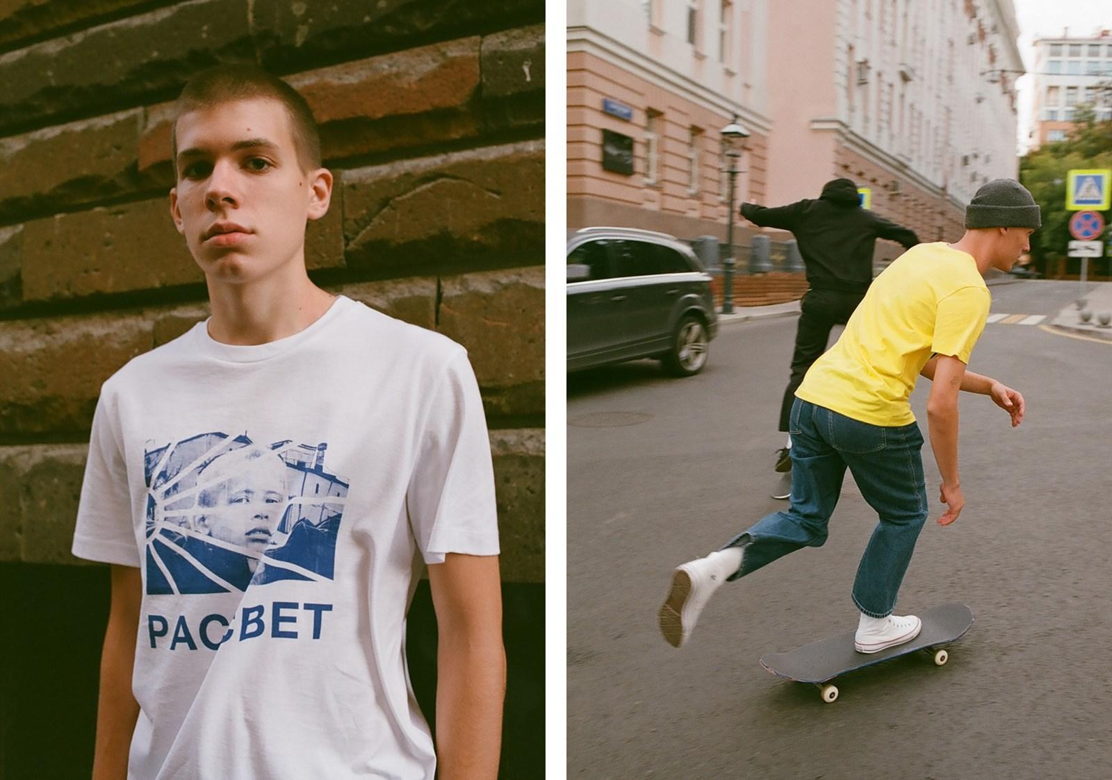 Dwa zdjęcia - na jednym młody mężczyzna w białym t-shirtcie, na drugim skateboarderzy