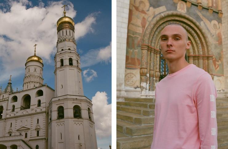 Dwa zdjęcia - na jednym młody mężczyzna w różowej koszulce, na drugim cerkwia