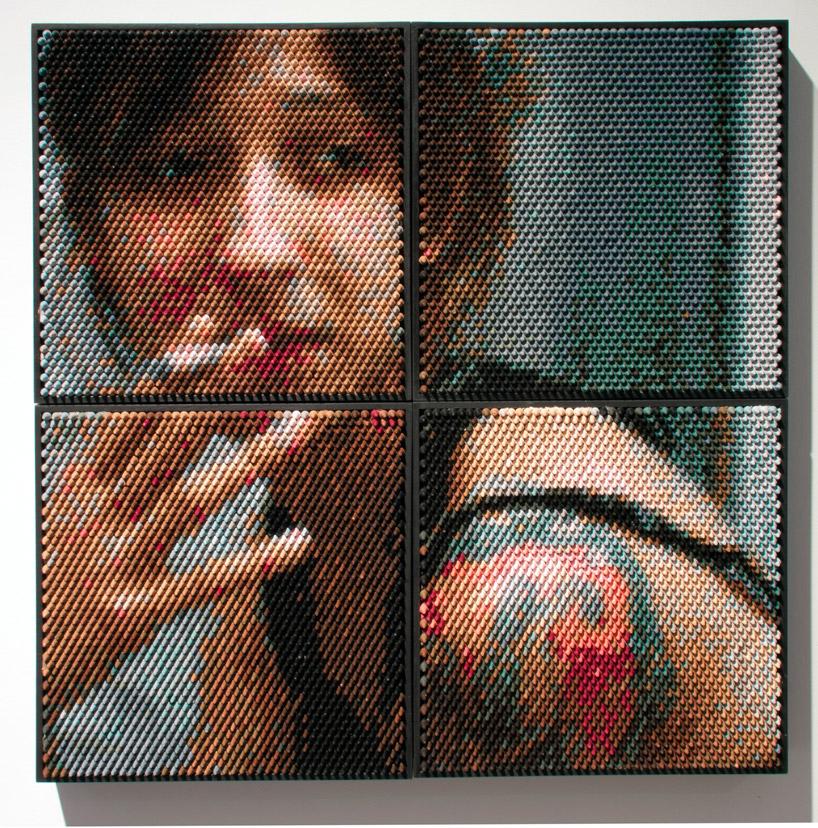Portret kobiety z papierosem ułożony z kredek świecowych