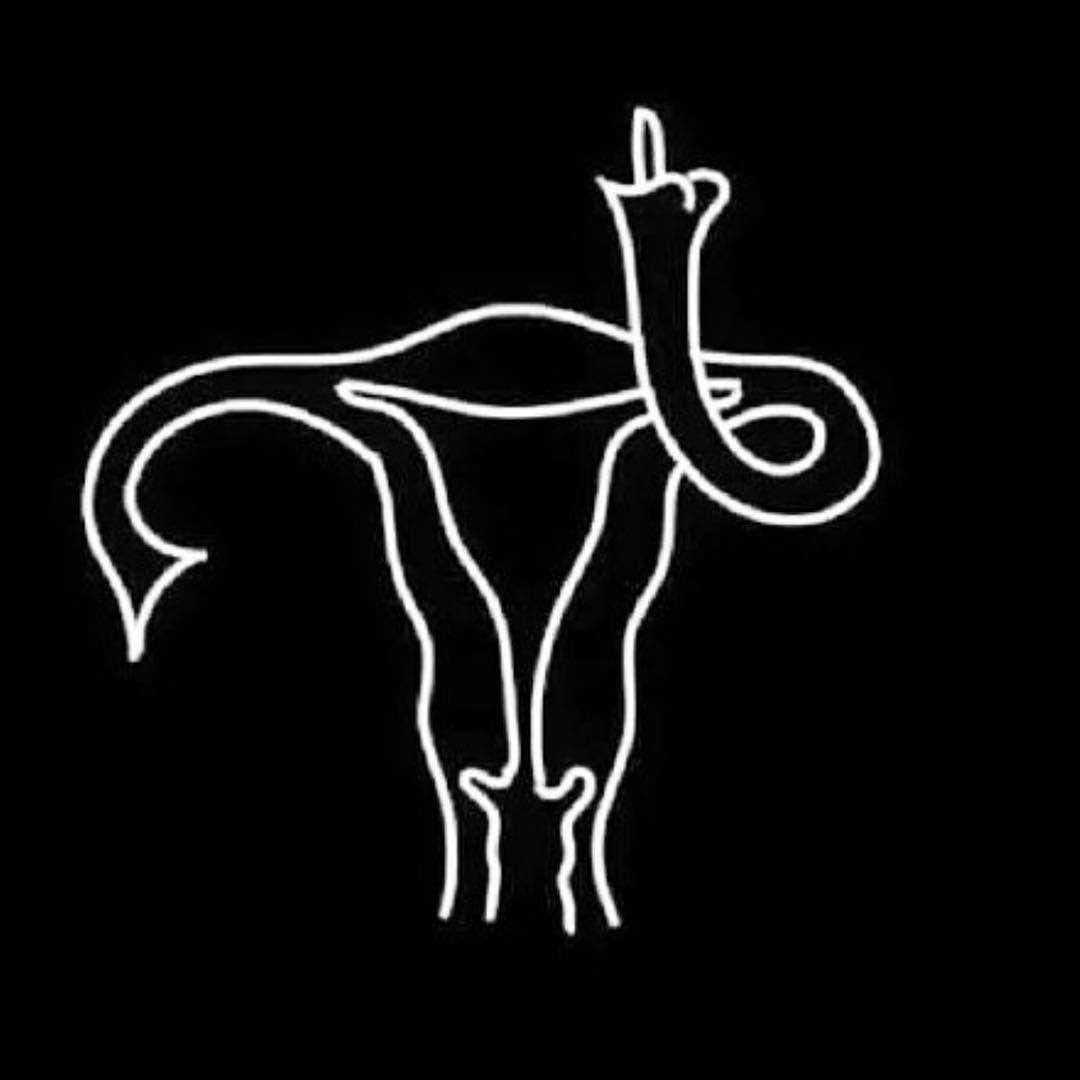 Biały rysunek macicy na czarnym tle, pokazujący środkowy palec