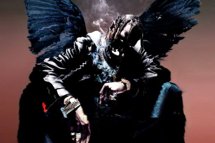 Mężczyzna z czarnymi skrzydłami siedzi na tronie