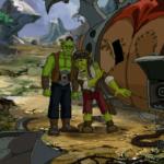 Dwa zielone stwory, obok brązowy namiot