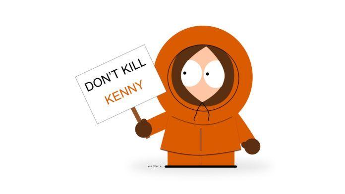 Postać z kreskówki w pomarańczowym ubraniu trzyma transparent, napis: Don't kill Kenny