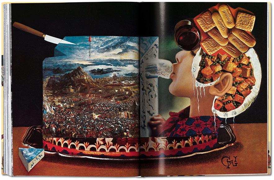 Kobieta z ciastkami na glowie w ilustracji ksiazki surrealistycznej