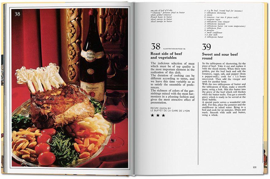 Rozkładówka ksiązki, po lewej ilustracja jedzenia, po prawej tekst przepisu