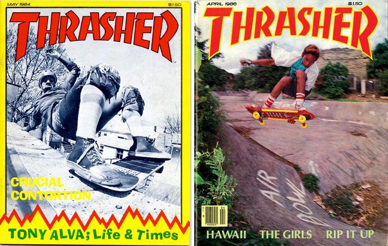 Dwie okładki skateboardowego magazynu Thrasher