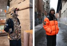 Dwóch modeli w puchowym kurtkach
