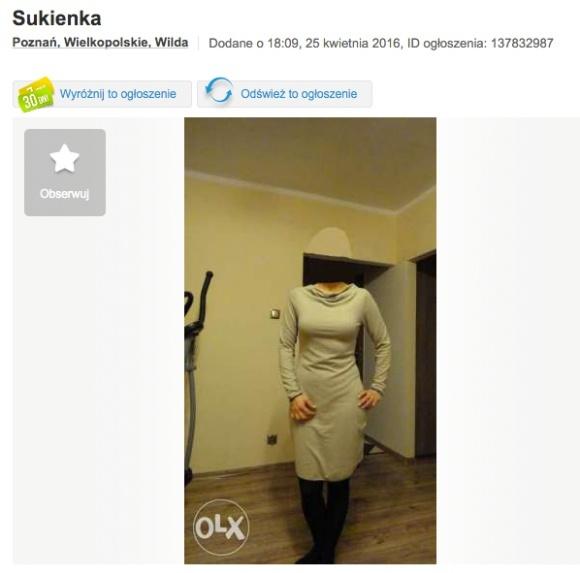 Kobieta  sukience bez głowy z olx-a