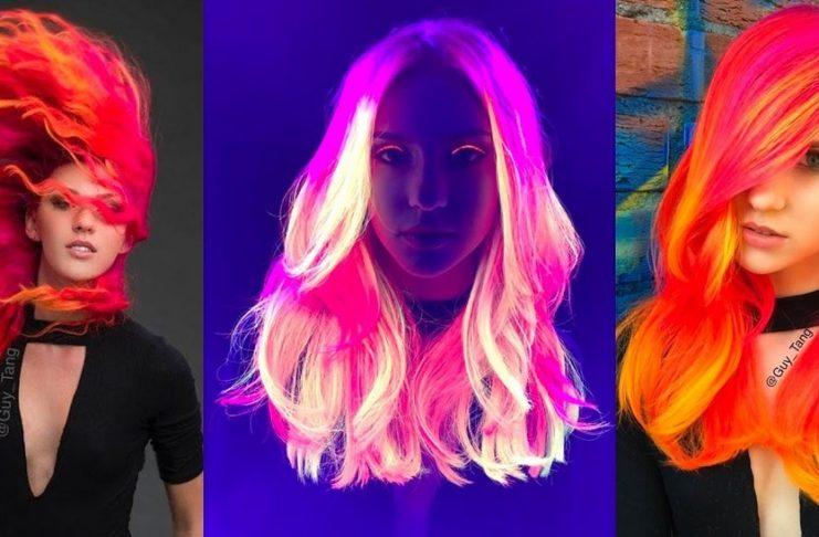 Trzy dziewczyny z neonowymi włosami