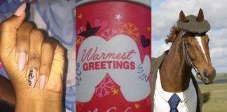 Kolaż trzech obrazków: dłoni z czterema palcami, kubka z McDonald's i konia w garniturze