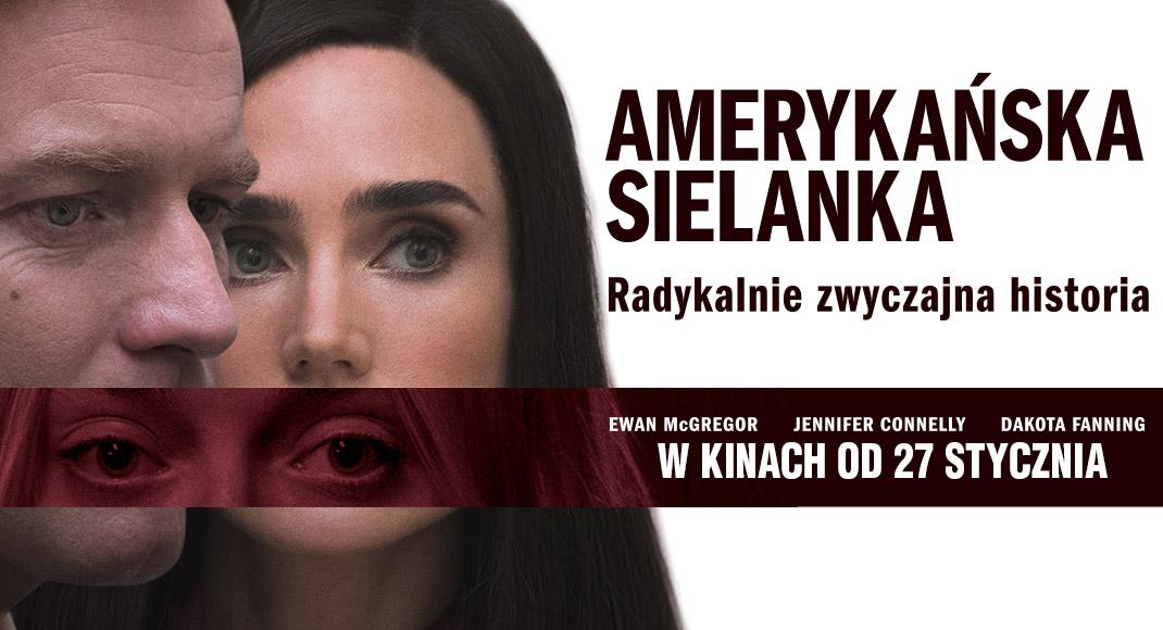 """Plakat filmowy """"Amerykańska sielanka"""" przedstawiający mężczyzne i kobietę"""