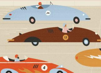 Trzy narysowane samochody wyscigowe