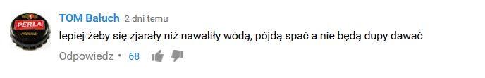 """Zrzut ekranu z komentarzem z portalu YouTube komentujący kampanię społeczną """"Melanż - oczekiwania vs rzeczywistosc"""""""
