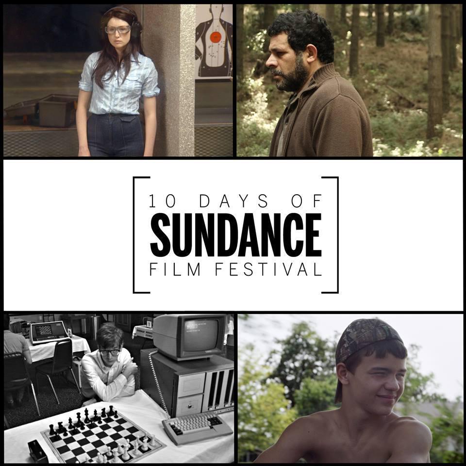 Plakat promujący 10 days of Sundace, 4 kadry z filmów
