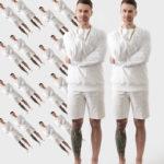 Dwóch mężczyzn ubranych w białe bluzy i białe krótkie spodenki