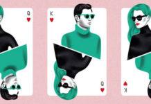 Plakat promujący targi mody Grand Bazar, przedstawiający ilustrację składającą się z trzech kart do gry na których u góry widzimy mężczyznę, a na dole kobietę