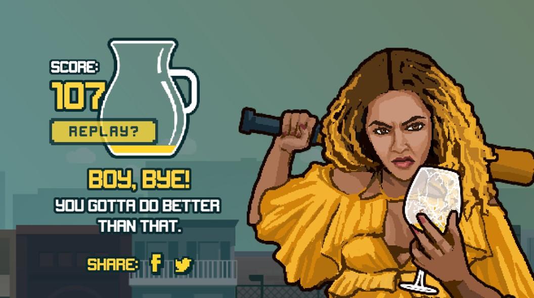 Pikselowa Beyonce trzymająca w ręku cytrynę