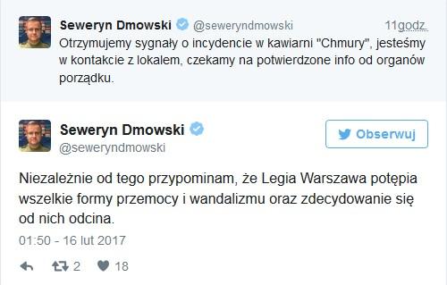Zrzut ekranu z Twittera zwierający wypowiedź Seweryna Dmowskiego