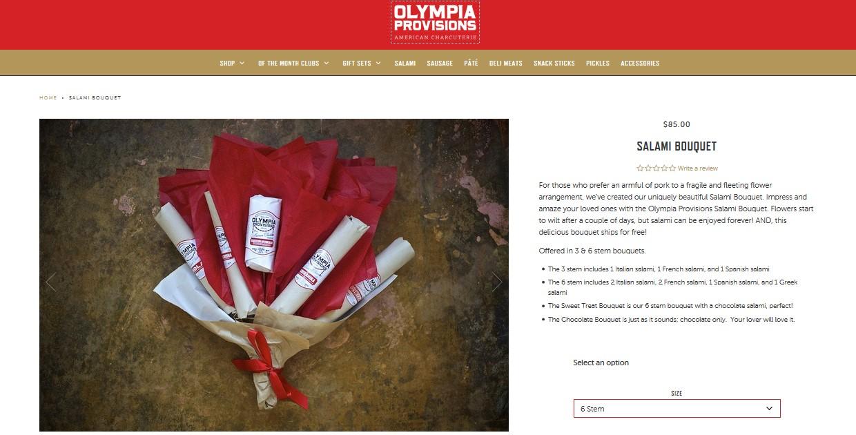 Zrzut ekranu ze strony oferującej bukiet z salami