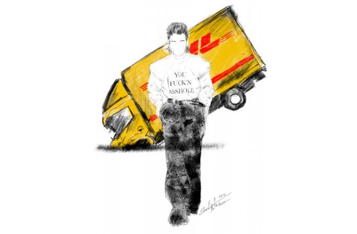 Narysowany obrazek mężczyzny w białej bluzie, w tle ciężarówką DHL