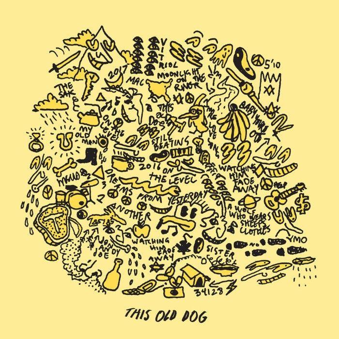 Żółta okładka płyty z napisami i rysunkami