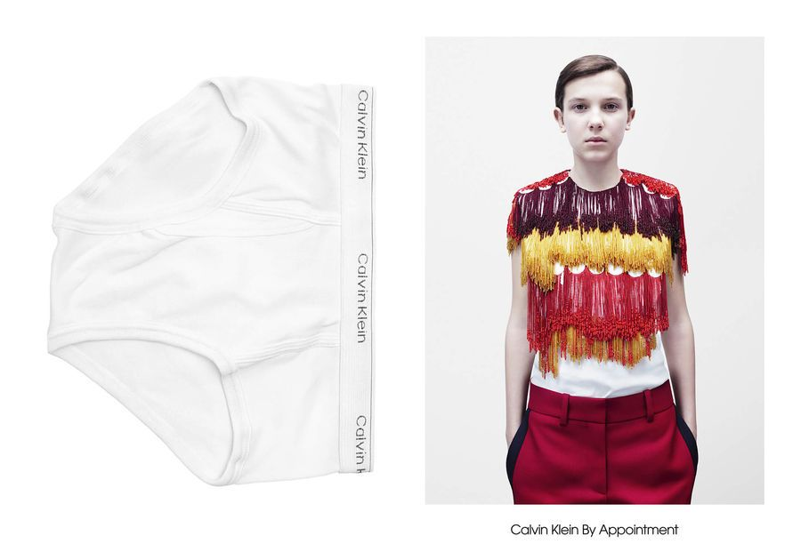 Dwa ujęcia: jedno przedstawiające bieliznę, drugie meżczyzne ubranego w kolorowy tshirt i czerwone spodnie
