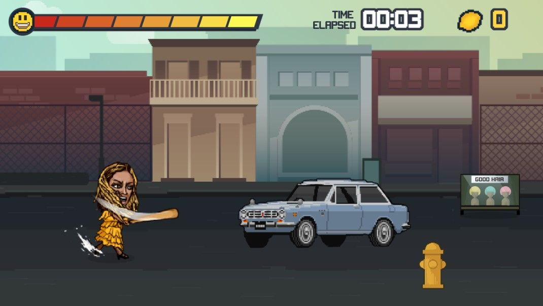 Pikselowa Beyonce przechadzająca się z kijem bejsbolowym po ulicy
