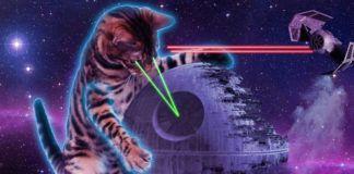 Kot strzelający z oczu laserami w kosmosie