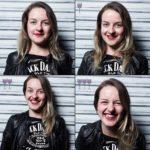 Cztery ujęcia twarzy dziewczyny ubranej w ciemną koszulkę i skórzaną kurtkę
