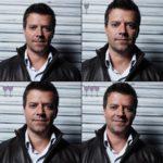 Cztery ujęcia twarzy mężczyzny, bruneta, ubranego w białą koszulę i czarną kurtkę