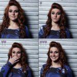 Cztery ujęcia twarzy rudowłosej kobiety, uśmiechniętej