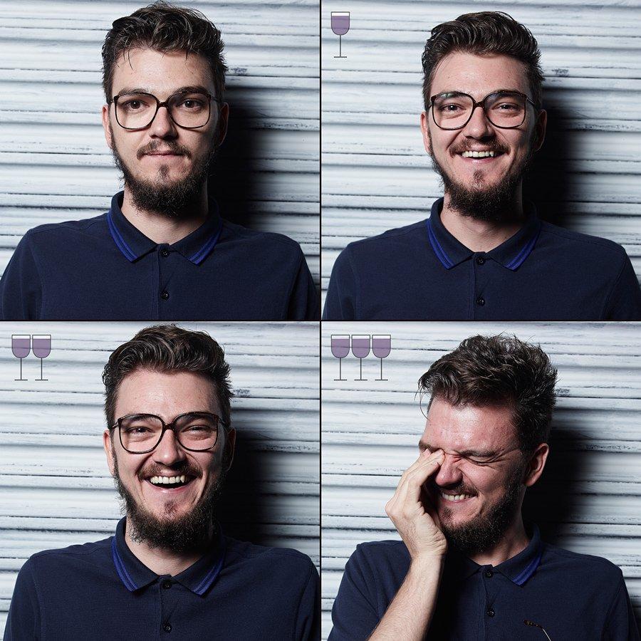 Cztery ujęcia twarzy bruneta w okularach i ciemnej koszulce
