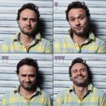 Cztery ujęcia twarzy mężczyny w koszulę w żółto-niebieską kratę