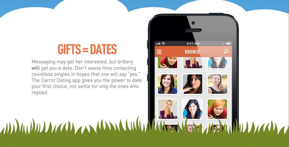 Obrazek przestawiający logo Carrot Dating z opisem działania aplikacji i grafiką w postaci zdjęcia telefonu
