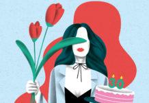 Rysunek kobiety trzymającej w jednej dłoni tort, w drugiej kwiaty