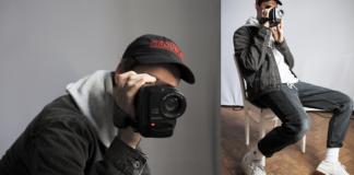Dwa ujęcia chłopaka ubranego w kurtkę i bluzę, trzymającego kamerę na wysokości twarzy