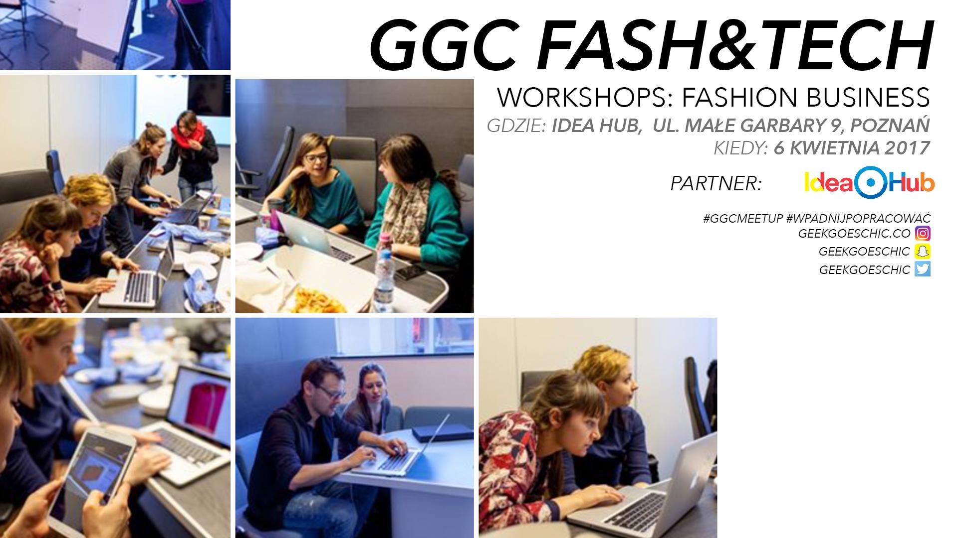 Plakat promujący warsztaty GeekGoesChic w Poznaniu