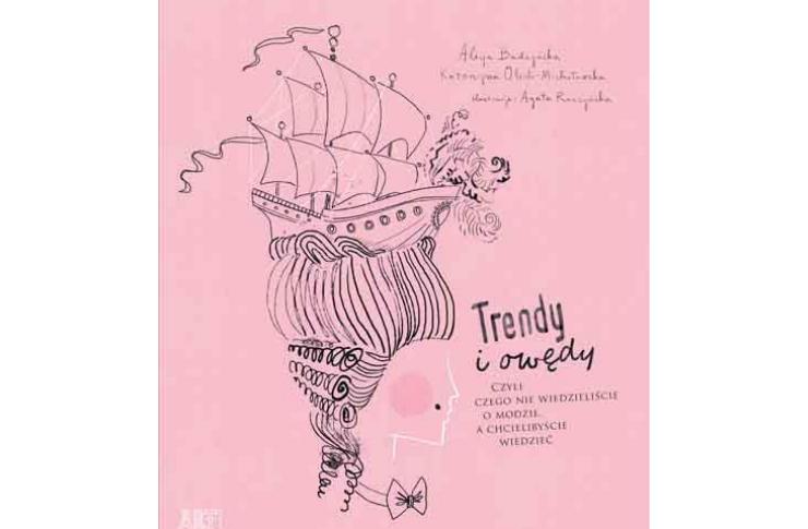 Różowa okłądka książki z narysowanym statkiem