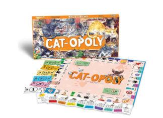 Pudełko gry Catopoly z kotami na pudełku