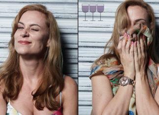 Dwa ujęcia tej samej kobiety: na pierwszym blondynka uśmiecha się, na drugim, zakrywa twarz dłońmi i włosami