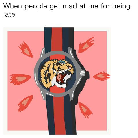 Mem ilustracja zegarka Gucci z tygrysem