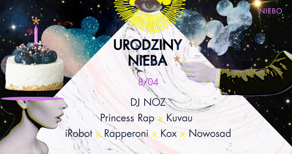 Plakat promujący urodziny klubu NIEBO 2