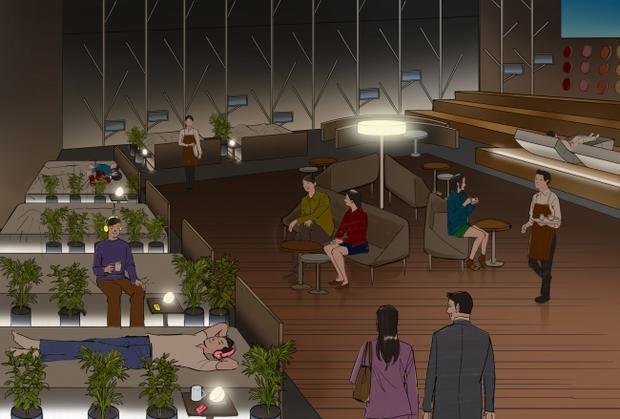Wizualizacja przedstawiająca kawiarnię w której można sobie uciąć drzemkę