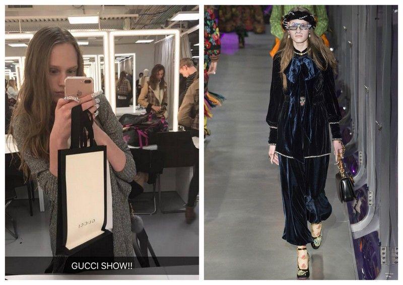 Dwa zdjęcia blondynki z rozpuszczoymi włosami, na jedym idzie po wybiegu, na drugim trzyma w ręku telefon