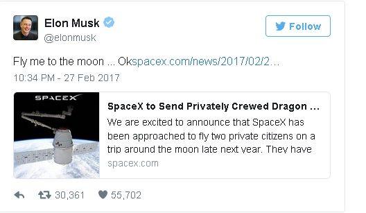 tweet Elon Musk'a anonsujący pomysł podróży wokół księżyca